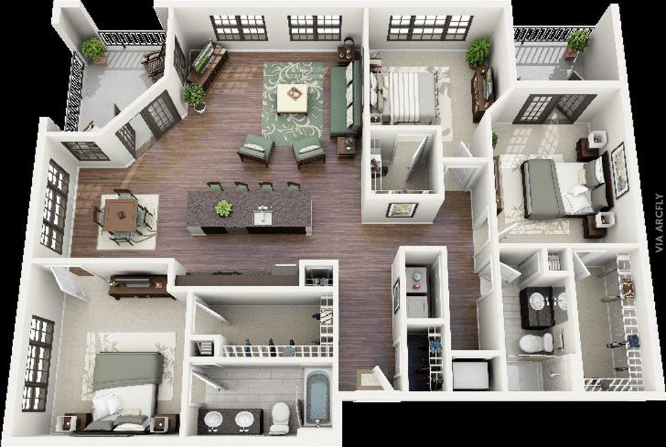 Examples of 3d plans for apartments and houses