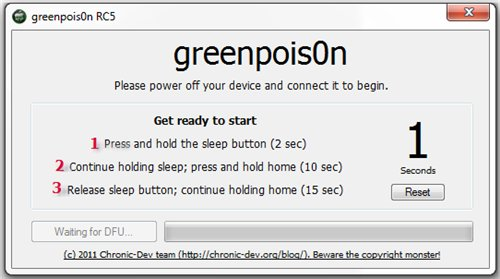 GreenPois0n, Jailbreak for iPhone 4, 3Gs, iPad