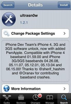 Unlock ultrasn0w 1.2.1 to Fix iOS 4.3.1