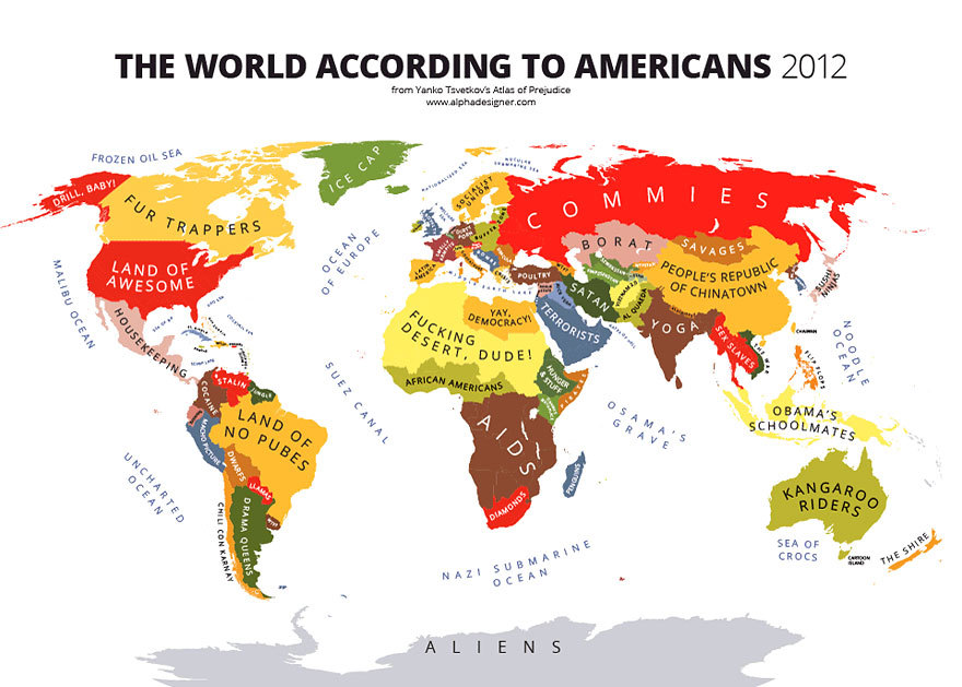The world in the opinion of Americans in 2012