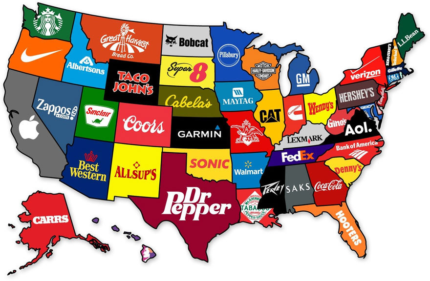 The most famous brands from each state of the USA