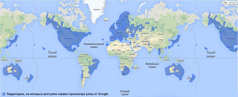 The availability of Google Street View from Google