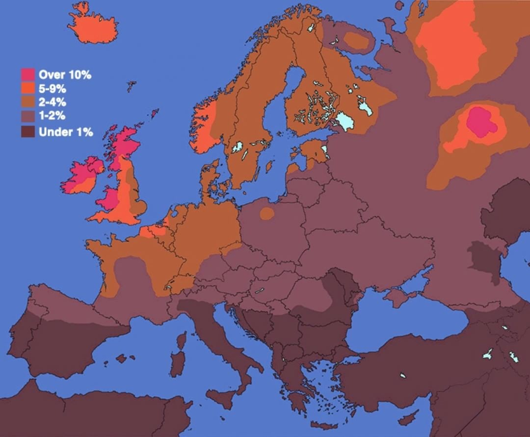 Redheaded people in Europe