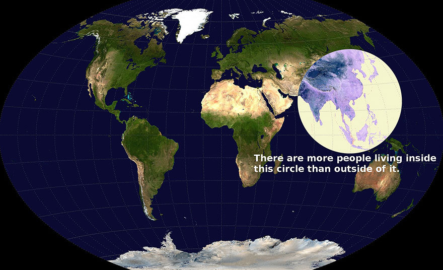 Within this circle there are more people than outside