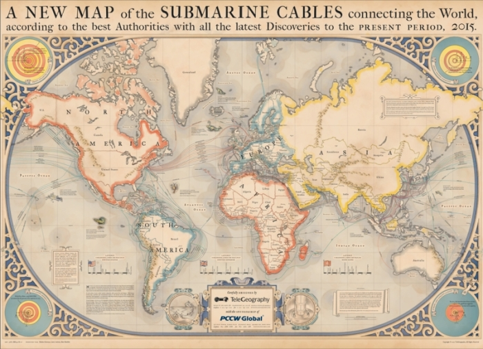 A map of all the submarine cables that connect the Internet