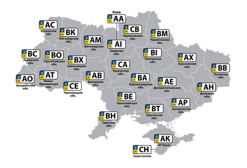 Car license plates of Ukraine 1100x750