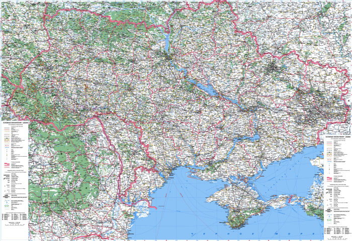 Atlas of highways of Ukraine 6470x4440 1: 1,000,000