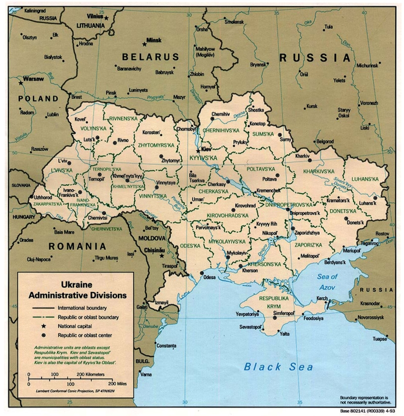Administrative Map of Ukraine 1020x1050