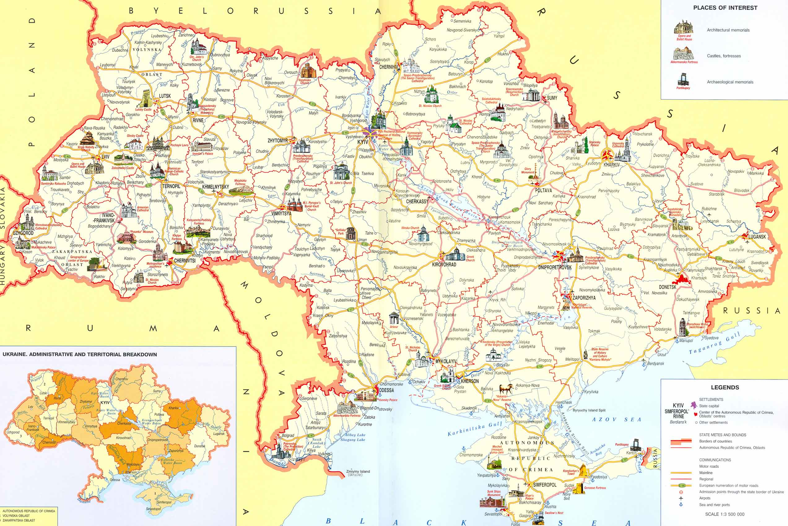 Detailed tourist map of Ukraine 2545x1700