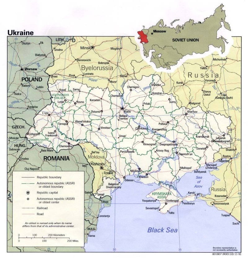 Political and administrative map of Ukraine with roads and cities 1034x1080