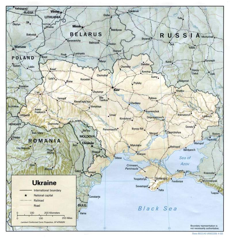 Political map of Ukraine with relief, roads and cities 1034x1068