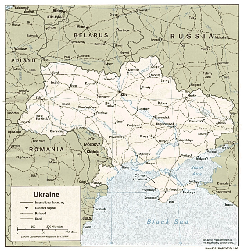 Political map of Ukraine with roads and cities 1020x1050
