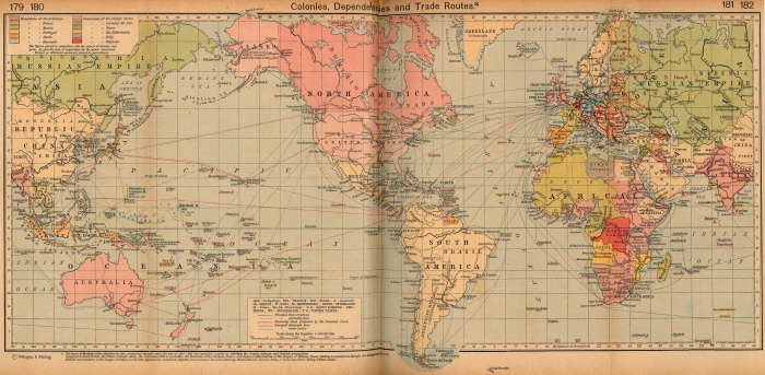 The map of trade routes of 1912