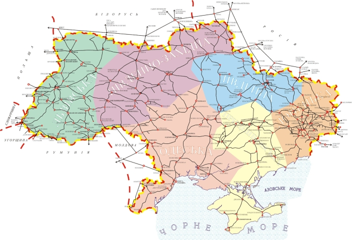 Map of the railways of Ukraine