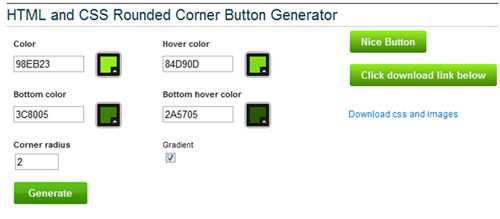 HTML and CSS Rounded Corner Button Generator